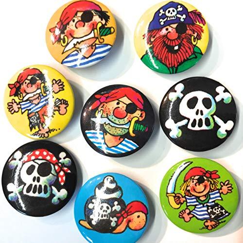 8 Mini Button * Piraten * mit Anstecknadel | 67221 | Kinder Geburtstag Mitgebsel Geschenk Party Buttons Set Kinderpiraten