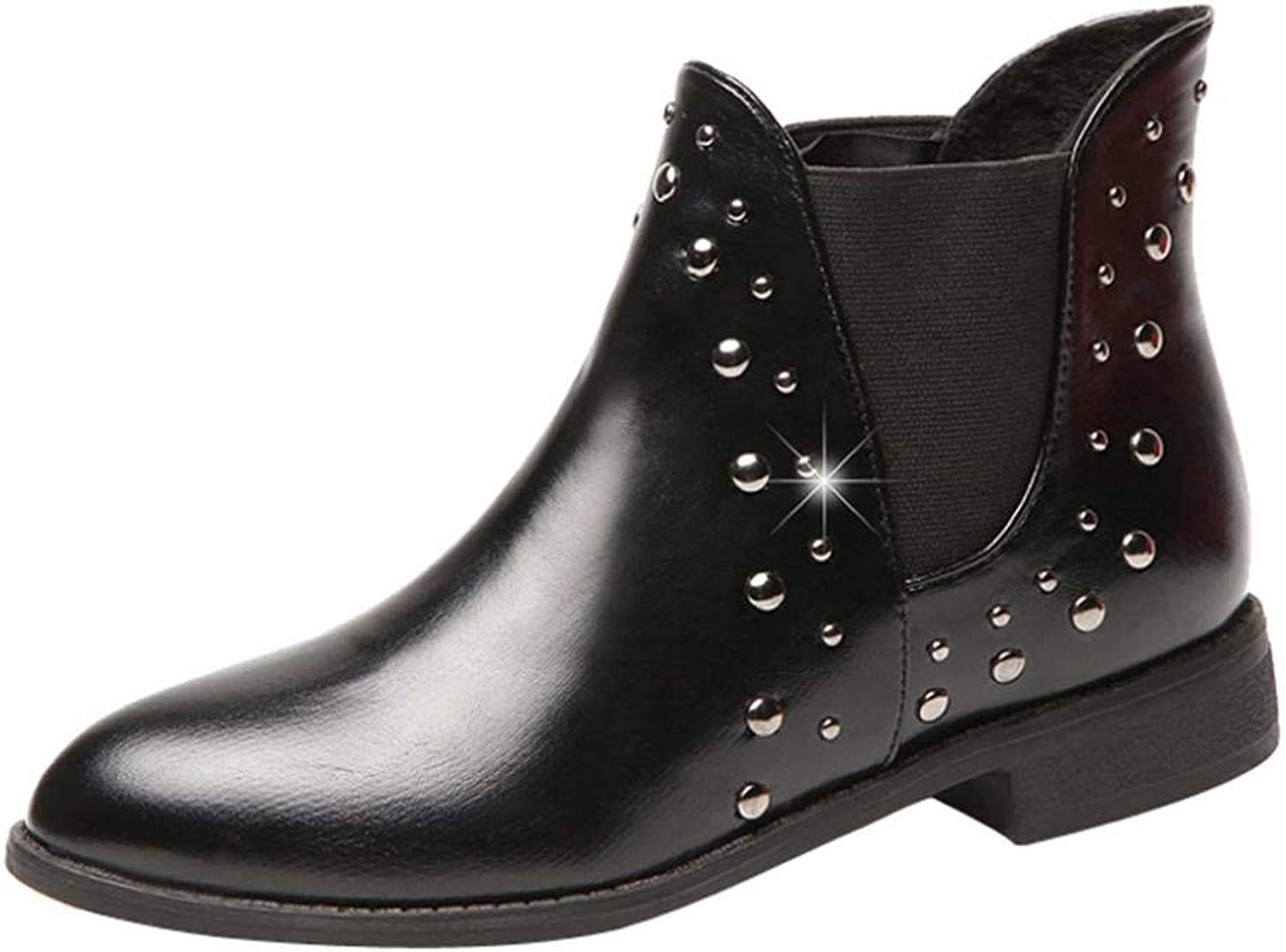 JaHGDU Women Casual Rivets shoes Keep Warm Boots Leather Flat Ankle Boots Martin Fashion Leisure Elegant Cosy Wild Tight Super Quality for Womens