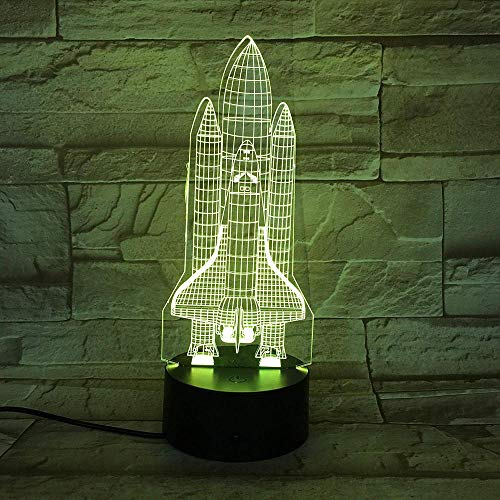 3D Illusion Night Light bluetooth smart Control 7&16M Color Mobile App Led Vision Apollo Project Space Shuttle Columbia Hologram Reward Unique colorful Creative gift