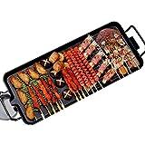 KKTECT Innengrill 1-6 Personen Rauchfreier Elektrogrill Antihaft-Grillplatte 5 Gänge Einstellbare Temperatur Elektrische Backform Multifunktion Tragbarer Grill Familienfeier Barbecue (L)