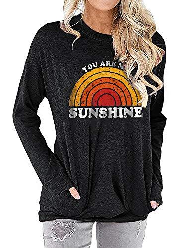 Amazon Autumn Explosion Langarm T-Shirt Weiblicher Buchstabe Gedruckt Loser Pullover