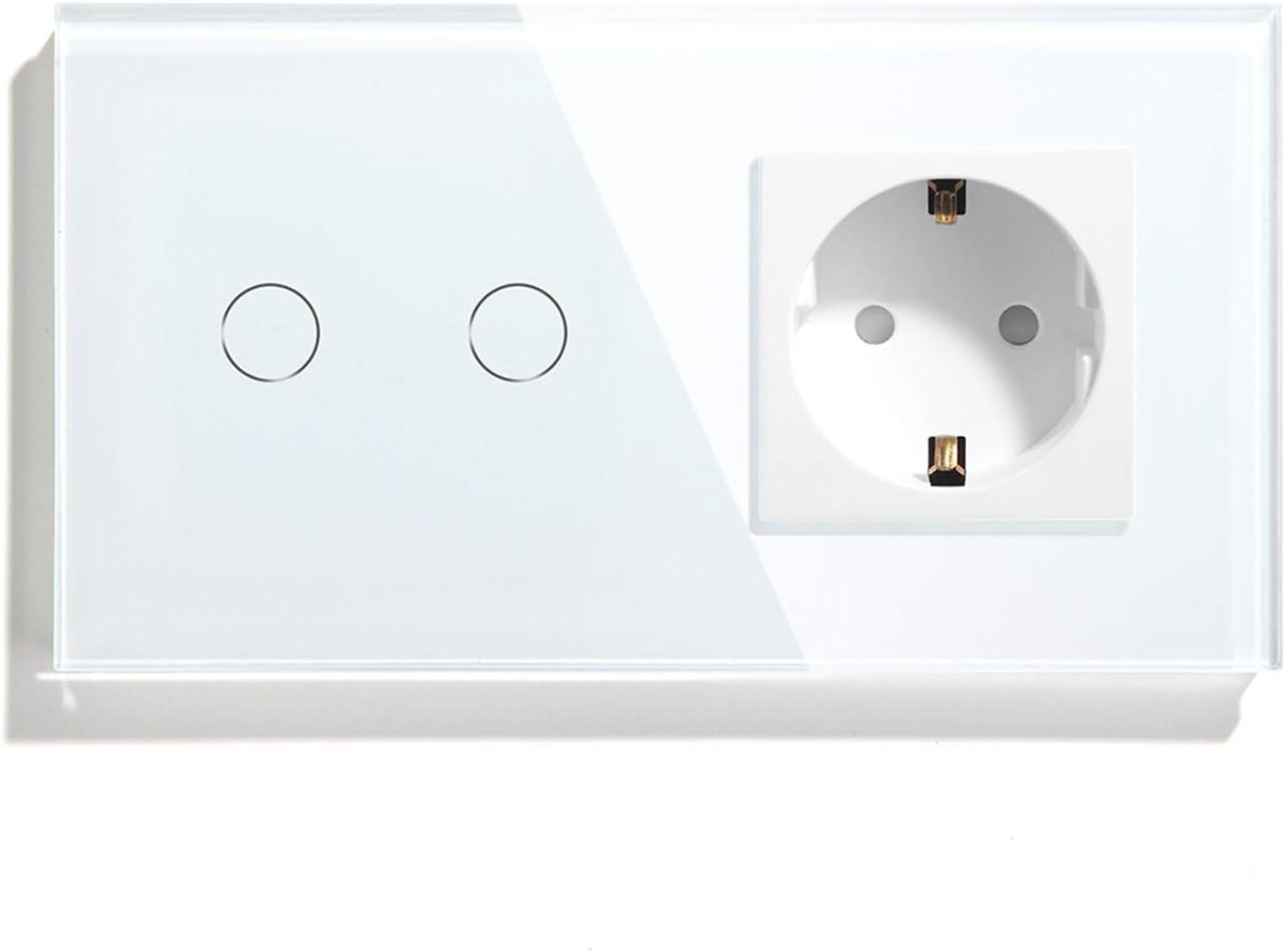 BSEED interruptor luz pared con enchufe,1 Gang 1 Way interruptor tactil pared Normal 16A a 250V Enchufe de pared,Panel de cristal Schuko Enchufe ...