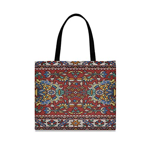 Gran capacidad cuadrada Bolsas de lona personalizadas Mosaico colorido Alfombra oriental Tradicional...