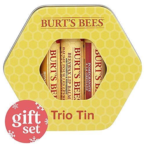 Burt's Bees Trio Tin Geschenkset, 1 x 100% natürlicher Bienenwachs Lippenbalsam, mit Vitamin E und Pfefferminz (4,25 g), 1 x Honig Lippenbalsam (4,25 g) und 1 x Granatapfel Lippenbalsam (4,25 g)