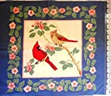 Birds Cardinals and Apple Blossoms Cranston Print Works Fabric Panel 20'x17'