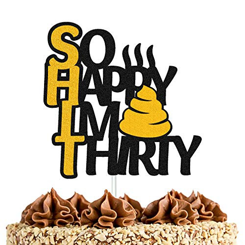 So Happy I'm Thirty Cake Topper for Men Women Him Her 30th Happy Birthday Cake Decorations Dirty Cheers Hello Something 30 & fabulous Theme Party Supplies (Boy)