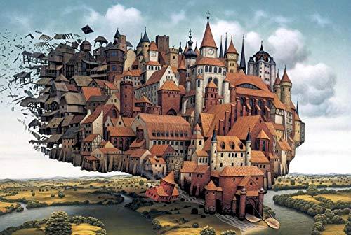FFLFFL 3000 Pezzi di Puzzle per Adulti, 3000 Pezzi di Puzzle per Bambini, Castello Volante stimolante Gioco per Adulti Regalo Giocattolo Puzzle di Famiglia