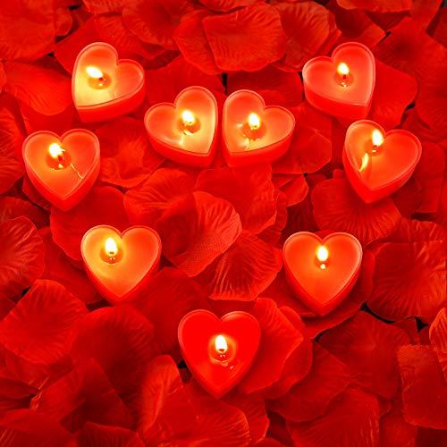 9 Packungen Herz Form Kerzen Romantische Liebe Kerze Teelicht Kerzen mit 200 Stück Seide Rose Blütenblätter Mädchen Streuen Blütenblätter für Hochzeit Valentinstag Tisch Kernstück Kuchen Dekor