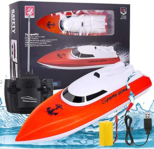 Remote Control Boats for Pools and Lakes, High-Speed 2.4GHz Remote Boat 180 Degree Auto Flip Recovery, Electric RC Boat Christmas Toys for Adults & Kids