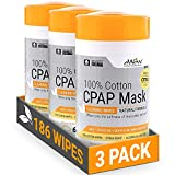 AWOW Professional Non-Lingering Lite Citrus Scented Cotton CPAP Mask Cleaning Wipes, Natural Formula, 186 Wipes (3 Canisters)