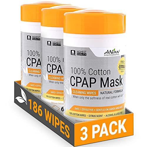 AWOW Professional Lingettes nettoyantes pour masque CPAP en coton parfumé au citron rafraîchissant, formule naturelle, 186 lingettes (3 boîtes)