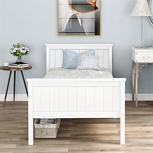 Single Bed Wooden Bed Frame with Headboard and Footboard, Pine Wood Bed for Kids Bedroom, Ivory,Fit 190x90cm Mattress