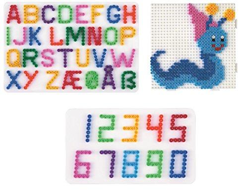 Hama Happy Price Toys (Set 70) Midi Stiftplatten Buchstaben ,Zahlen und Multi Quadrat + Bügelanleitung mit 3 Design Vorlagen
