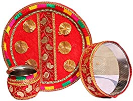 Geetanjali Handcrafted Designer Traditional Karva Chauth Combo/Pooja Set of (Thali, Karva, Channi, Roli & Chawal). New KC-3