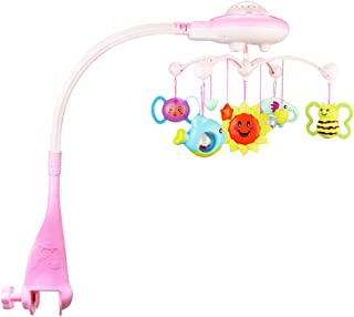 STOBOK Baby Crib Mobile Musical Toy Learning Auto Rotation Educational Sound Toy for Infant Toddler Pink