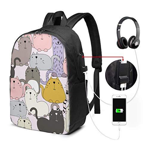 FGHJY Laptop-Rucksack mit USB-Ladeanschluss Cartoon Cat Smile in vielfältiger Aktion für Trip School 17In