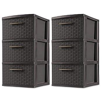 Sterilite 3 Drawer Wicker Weave Decorative Storage Tower Espresso  2 Pack