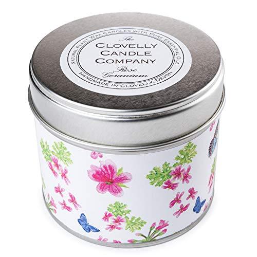 Clovelly Soap Co. Handgemachte natürliche Duftkerze Rosengeranie Aromatherapie Sojawachs Vegane Dosenkerze