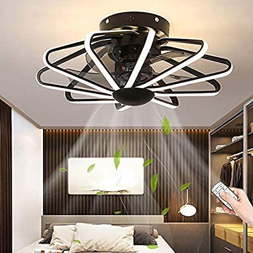 WTTCD Iluminación Led Ventilador de Techo 112W Ventilador Candelabro Silencioso Control Remoto Luz de Techo Regulable Ventilador de Dormitorio Luz de Techo-Negro