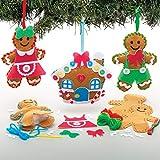 Baker Ross Kits Costura Decoración Pan de jengibre (Pack de 3) para manualidades y decoraciones navideñas