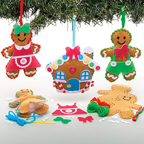 Baker Ross AT165 Gingerbread Ornament Sewing Kits - Pack Of 3, Christmas Arts And Crafts, Assorted