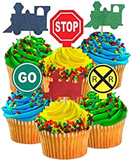 CakeSupplyShop Birthday Party Food/Appetizer/Desert/Cupcake Decoration Toppers (24pack Train & Railroad Sign)