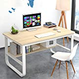 GORVELL Wood White 100cm Computer Desk with Storage Shelves <span class='highlight'>for</span> Teenagers Study Writing, <span class='highlight'>Home</span> Office Laptop PC <span class='highlight'>Workstation</span>, L100 x W60 x H73cm