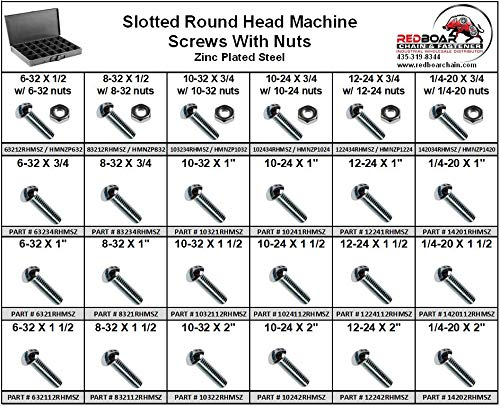 Slotted Round Head Machine Screw w/Nuts (Zinc Plated Steel) Small 24 Hole Metal Drawer Assortment