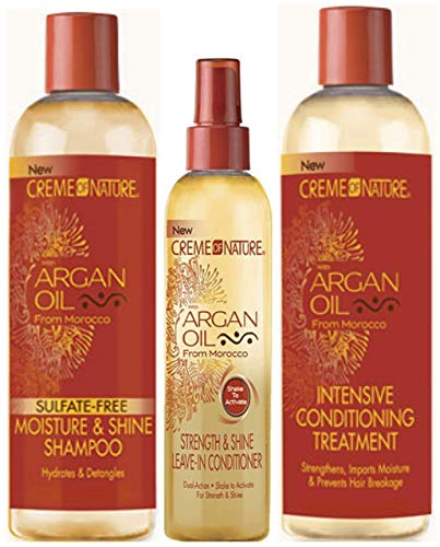Creme of Nature Argan Oil Shampoing sans sulfate et hydratant 354 ml, revitalisant sans rinçage à la force et à la brillance 250 ml et au traitement intensif revitalisant à l'huile d'argan 354 ml