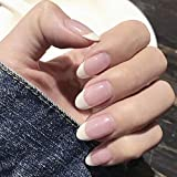 Easedaily Oval Press on Nails French Fake Nails Short...