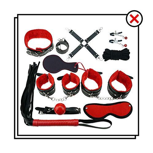 Attrezzo sportivo da palestra in peluche incorporato in pelle rossa e nera - 10 set