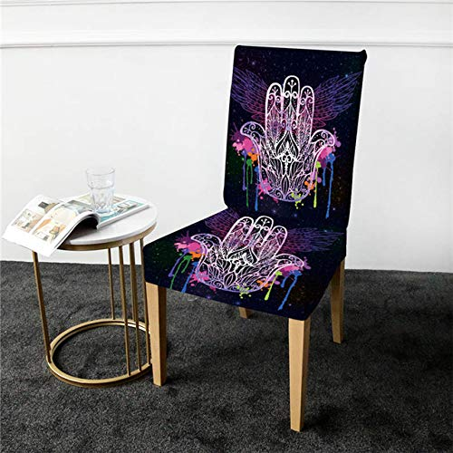 QZXCD Stoelbedekking Beddengoed Outlet Handafdekking voor stoel Aquarel Boho Spandex Hoes Wings Galaxy Stoelhoes Stoelhoes 1er Pack D