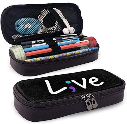 Selbstmordprävention Awaren Live Love Semikolon Federmäppchen Federbeutel Beutelhalter Make-up Tasche für Schulbüro College