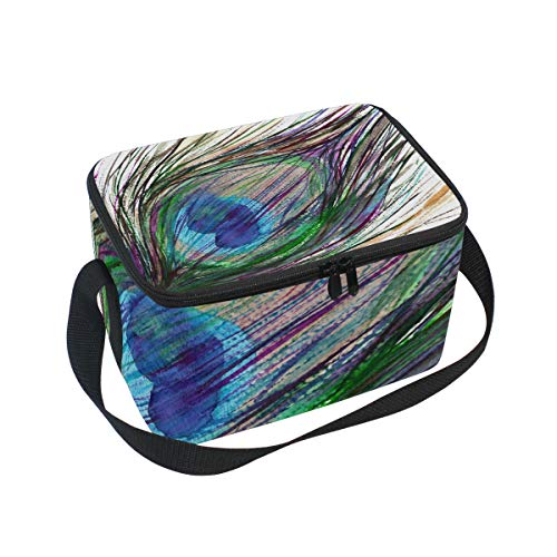 Bolsa de almuerzo de plumas de pavo real pintada a mano acuarela refrigerador para picnic correa de hombro fiambrera