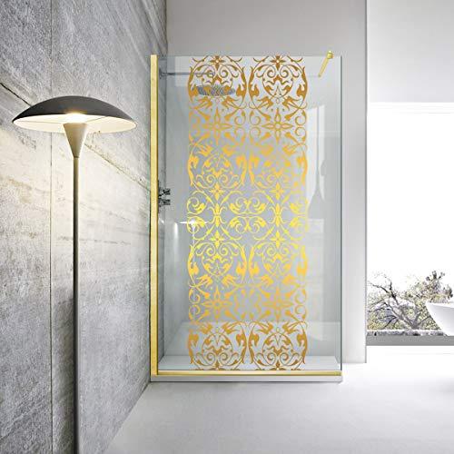 Modern Glass Art - Parete doccia dorata Leroy Timeless – Regency Classic in vetro temperato trasparente da 8 mm di sicurezza, rivestimento nano, finitura a specchio in ottone dorato, oro