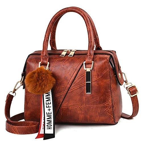 Ningb Lederhandtaschen Kleine Frauentasche Beiläufige Frauentaschen Stamm Tote SpanischeMarkeUmhängetasche Damen Groß, Kaffee