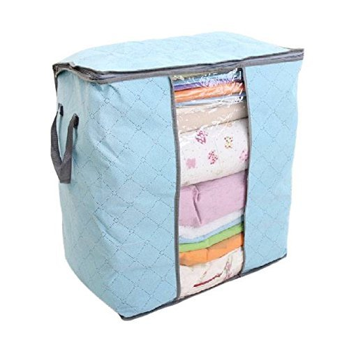 JINTA Household Clothes Quilt Sheet Storage Bags Containers Charcoal Bamboo Organizer Foldable Zipper Box Dustproof Bags Luggage Bags Wardrobe Cabinet Living Room Organizer