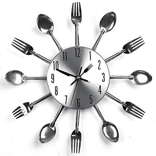 Edelstahl Küchenutensilien Uhr für Küche Déco Indoor und Outdoor, Küche Besteck Silber Wanduhr mit getönten Gabeln, Löffel, Spatel