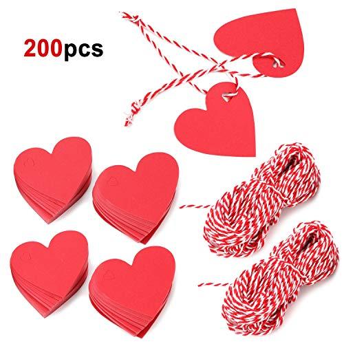 HOWAF 200 Piezas Etiquetas de Papel Kraft en Forma de corazón Rojo Etiquetas de Regalo Etiquetas de Boda San Valentín decoración con 40 Metros Cordel de Yute