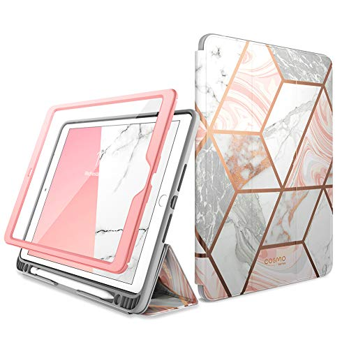 i-Blason Cosmo Case for iPad 9th/8th/7th Generation, iPad 10.2 (2021/2020/2019), Full-Body Trifold with Built-in Screen Protector Protective Smart Cover with Auto Sleep/Wake & Pencil Holder (Marble)