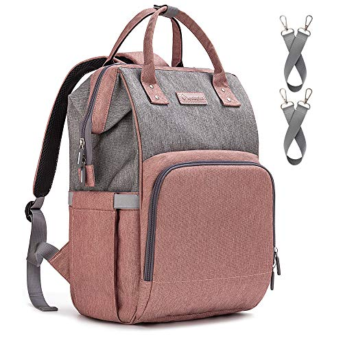 Diaper Bag Backpack Nappy Bag Upsimples Baby Bags for Mom and Dad Maternity Diaper Bag with USB Charging Port Stroller Straps Thermal Pockets,Water Resistant ,Pink&Gray