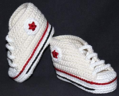 Patucos bebé. Crochet. Unisex. Estilo Converse. Color crema. 100% algodón. Tallas de 0 hasta 9 meses. Hechos a mano en España. Regalo para bebé.