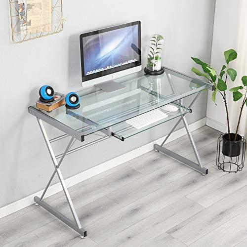 soges Table d'ordinateur de Bureau pour la Maison et Le Bureau au Look Moderne, en Verre Transparent de Haute qualité et Cadre en métal, avec Plateau pour Clavier Amovible, 120CM * 55CM