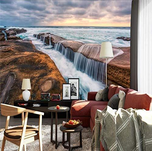 Tapete Seaside Sea Rock Wasserfall Hintergrund Dekorative Malerei-150 * 105cm