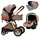 TXTC 3 in 1 Baby Stroller Carriage Foldable Luxury Pushchair Stroller Shock Absorption Springs High View Pram Baby Stroller with Mommy Bag and Rain Cover (Color : Khaki)