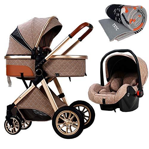 TXTC 3 In 1 Kinderwagen Wagen Klappbar Luxus-Kinderwagen Buggy-Spaziergänger Stoßdämpfung Federn High View Pram Baby-Spaziergänger Mit Mama Beutel Und Regen-Abdeckung (Color : Khaki)