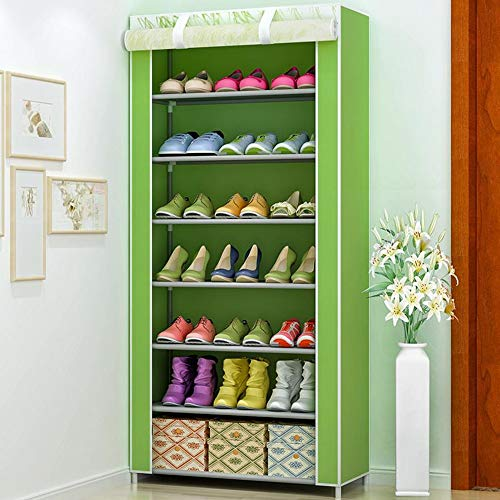 M-YN Zapatero Gabinete de Tela no Tejida de 7 Niveles for 21 Pares de Zapatos Organizador de Almacenamiento Ajustable Ajustable Beige Fácil de ensamblar (Color : Green)