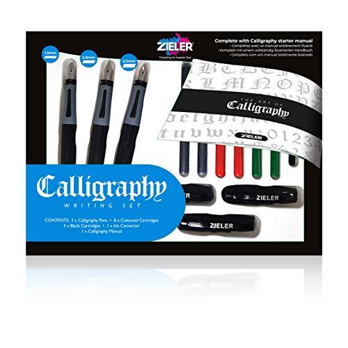 Zieler® Set di scrittura calligrafica da 17 pezzi, completo con 3 penne a elevata scorrevolezza, per destrorsi, adatto per tutti i livelli