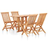 BIGTO - Set da pranzo pieghevole per esterni, in legno di teak massiccio, set da tavolo e sedie (5 pezzi)
