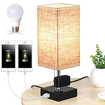 Lifeholder Lamp, Table Lamp with Warm White LED Bulb, Nightstand Lamp Built in Dual USB Port & One Power Outlet, Round Desk Lamp Perfect for Bedroom, Living Room or Office